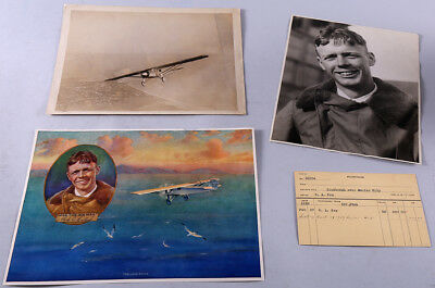 Vintage 1929 R.A. Fox  Lone Eagle Charles Lindbergh Print w/ Source Photographs