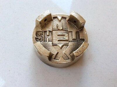 Rare Old Vintage Shell Mex Brass Oil Cap Lid Top From 2 Gallon Fuel Petrol Can