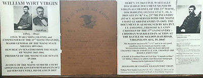 CIVIL WAR COLONEL 23rd MAINE INFANTRY GENERAL JUSTICE DISCHARGE DOCUMENT SIGNED!