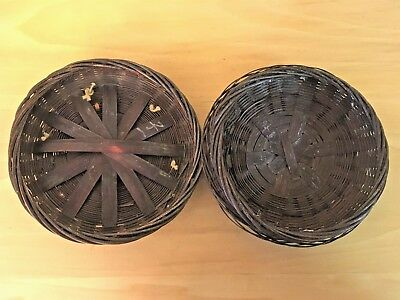 Vintage Chinese Woven Bamboo Sewing Basket w/ Peking Glass Ring and Tassels
