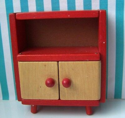 Dolls House, Cabinet, 16Th, Tofa, Czech, Cupboard, Wood, Red, Vintage, B