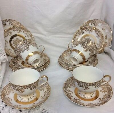 4 Trios Royal Vale Gilded 22 Ct Gold Decorated cup saucer side plates wedding