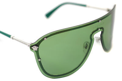 0aaafb6e701a VERSACE 2180 1000/2 Mens Womens RIMLESS OVERSIZED SHIELD Sunglasses GREEN  SILVER