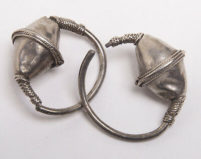 Ancient Byzantine Silver Gilt Hoop Earrings  Circa 10th to 12th century AD.