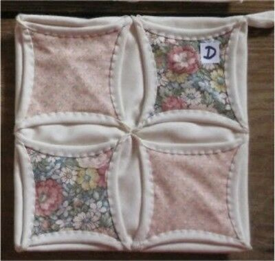 SET of 2 HAND QUILTED HANDMADE CATHEDRAL WINDOW POT HOLDER -D