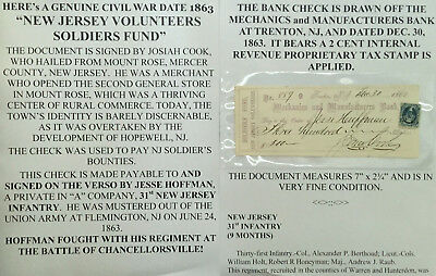 CIVIL WAR 31st NEW JERSEY INFANTRY SOLDIERS FUND DOCUMENT SIGNED CHECK TRENTON !