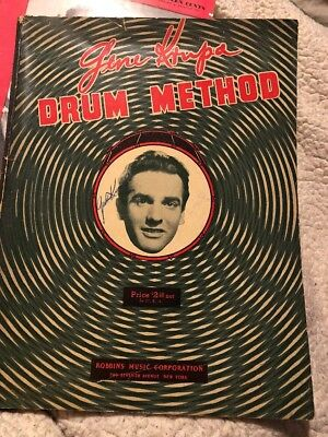 Gene Krupa Jazz Big Band Drummer Rare Signed Autograph On Drum Method Book
