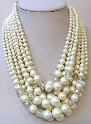 "Stunning Vintage Estate Signed Japan Crystal Bead Rhinestone 18"" Necklace 1551R"