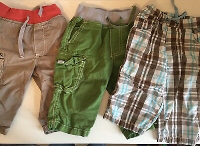 3 x Baby Mini Boden Boys Trousers, Check Grey/Beige Green 12-18 Months