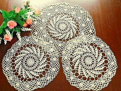 3 Vintage Lace Doilies Taupe Cotton Antique Lot Pinwheel Set
