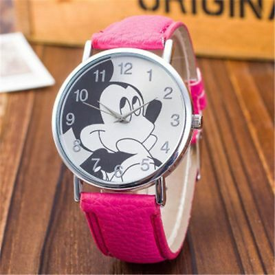 New Kids Cartoon Watches Mickey Mouse Leather Wrist Watch Lady Girl Women Teens