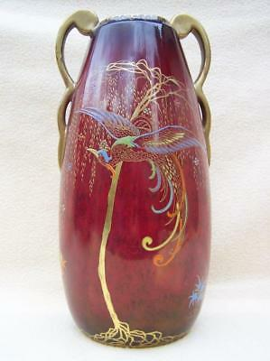 "Carlton Ware Rouge "" Chinese Bird "" Art Deco Shape 1694 Vase # 3525"