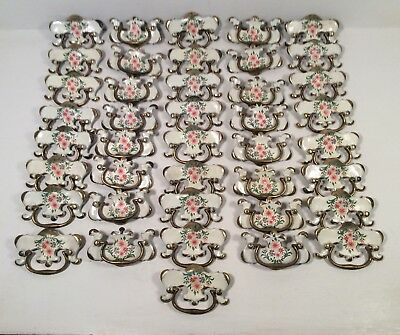 41 Vintage Brass Drawer Pull Knobs - White Painted Floral