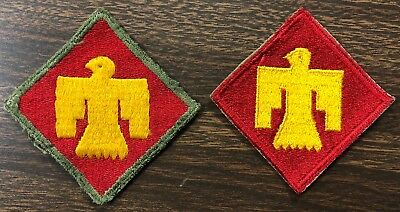 Lot of 2 WWII Thunderbird 45th Infantry Division Military Patches