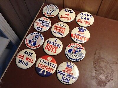 Lot of 12 Vintage Humorous Pinback Buttons