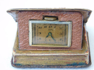 Lovely Vintage Book Form Early Movado Ralco Folding Travel Clock Timepiece