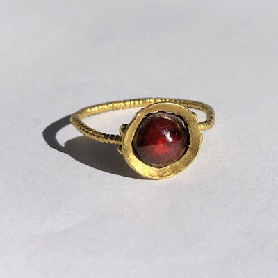 Appraised - Authentic - Antique Medieval Gold Garnet ring 12th-14th Century