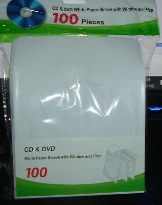 100 CD DVD Paper Sleeve  w/ Clear Window Fold Over Flip