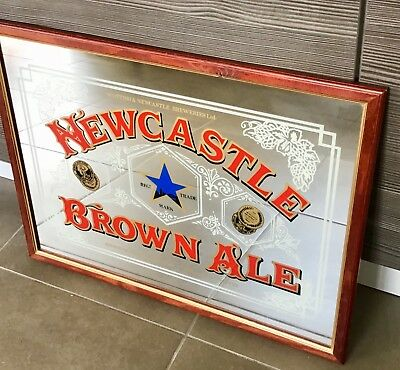 Large Vintage Wooden Framed 26 x20 inches Newcastle Brown Mirror (circa 1970's)