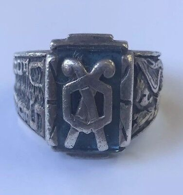 SUPER NICE WW 2 U.S Chemical CORPS STERLING MARKED  RING Sz10
