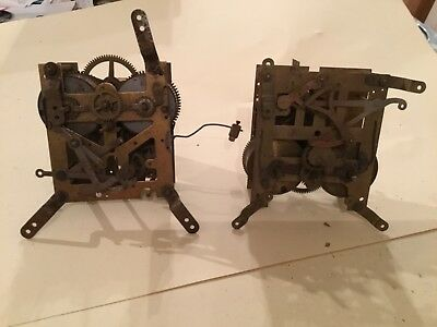 Vintage Brass Clock Workings Parts x 2 for Spares or Repair
