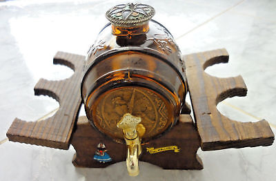 vintage Wood Crafted Barrel Drink Dispenser With Glass Breakers