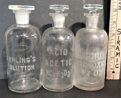 3 DIFF BOTTLE SET 250mL lab apothecary reagent science drug chemical doctor ASIS