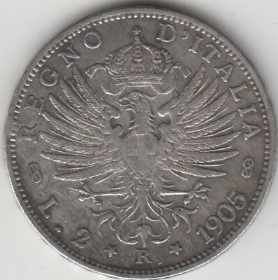 Coin 1905R Italy silver 2 lire issue in very fine condition