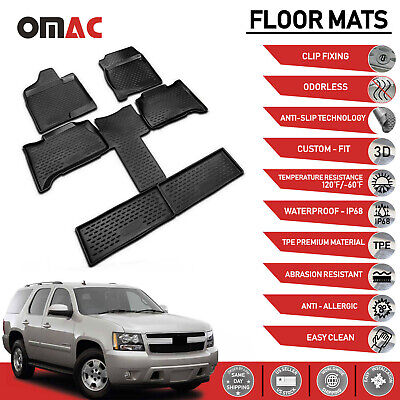 Floor Mat Liner 3D Molded Black Chevrolet Tahoe / GMC Yukon 7 Seats 2007-2014
