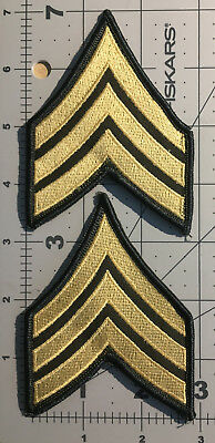 Us Army Class A Gold On Green E5 Sergeant Sgt Rank Set Of 2 New (A115)