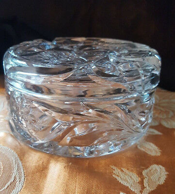 Antique Abp Hawkes Gravic Cut Glass Jewelry Dresser Powder Jar Covered Box
