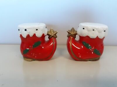 Vtg Ceramic Elf Boots Salt And Pepper Shakers Japan