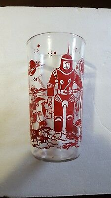 Vintage Atomic Space Age Jelly Jar Drink Glass Astronaust Spaceships Rockets FS