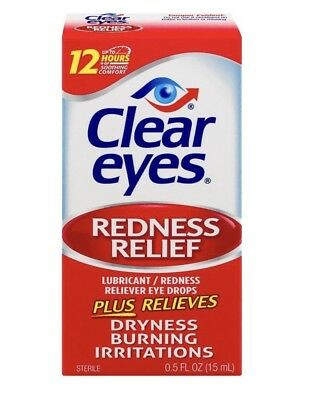 Clear Eyes Lubricant /Redness Relief Eye Drops Drying, Burning 15ml / 0.5 oz