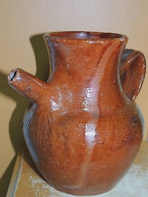 """American Red Ware 7"""" Ewer Pitcher Primitive New England Redware 19th Antique"""