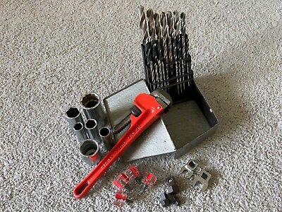Miscellaneous Hand Tools Drill Bit Set Pipe Wrench Sockets Small Screwdrivers