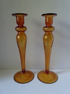 "Pr Art Glass Candlesticks Amber Hollow Cut 12 7/8"" Tall"