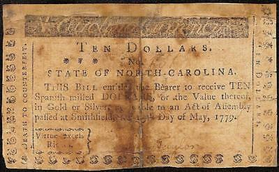 1779 $10 Virtue Excels Riches North Carolina Colonial Currency Note Paper Money