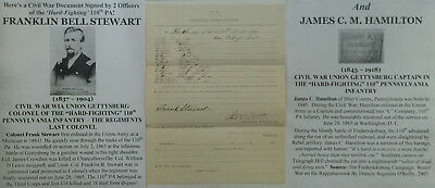 CIVIL WAR WIA GETTYSBURG COLONEL 110th PENNSYLVANIA INFANTRY DOCUMENT SIGNED VF!