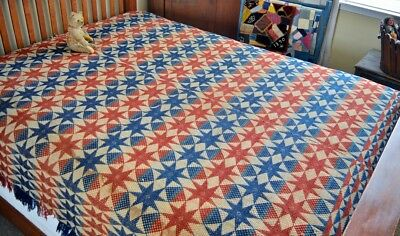 Antique 19th century Two Panel Star Coverlet
