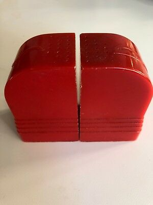 Vintage Art Deco Salt And Pepper Shakers Red