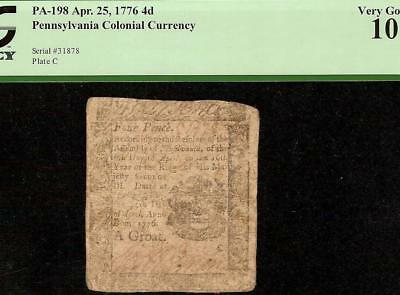 1776 Colonial Currency Philadelphia Pennsylvania Note Paper Money Pa-198 Pcgs