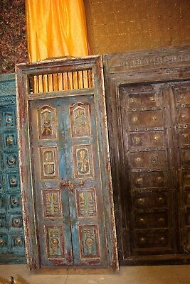 Indian Antique Distressed Double Doors Frame Solid Teak HandCarved Architectural