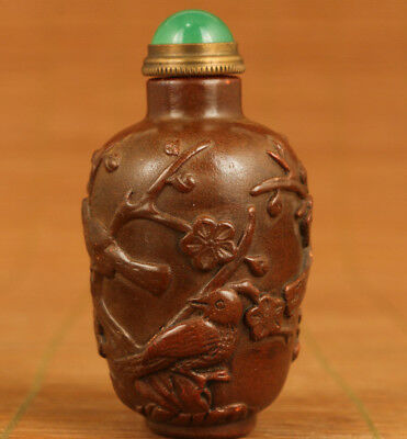 chinese rare old natural stone hand carving club bird statue figure Snuff bottle