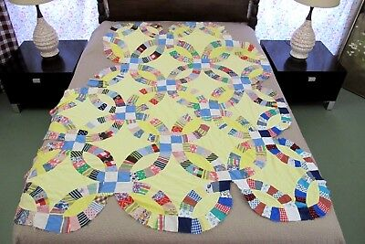 UNFINISHED Vintage Feed Sack Hand & Machine Pieced WEDDING RING Quilt TOP