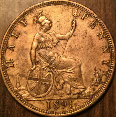 1891 UK GB GREAT BRITAIN VICTORIA HALFPENNY - Great example - Cleaned