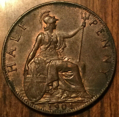 1901 UK GB GREAT BRITAIN VICTORIA HALFPENNY - Best of circulated condition!