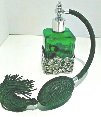 Stunning  Perfume Bottle with Atomizer  Emerald green with a Pewter Floral Base