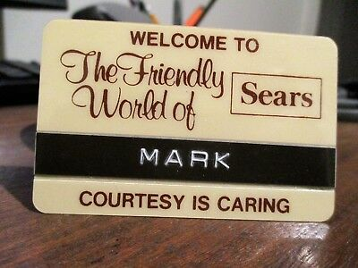 Vintage Sears Department Store Employee Name Tag ~ FREE Shipping