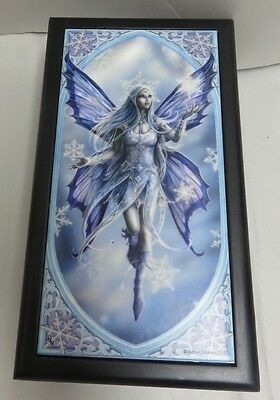 "Anne Stokes ""Snow Fairy"" Fantasy Tile Lined Black Wooden Box ACK Nemesis Now"